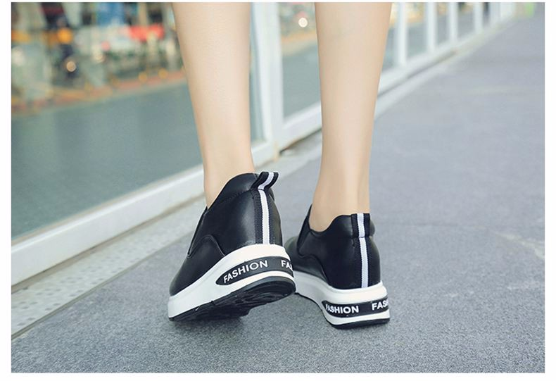 Shoes Women High Top Autumn Quality Leather Wedges Casual Shoes Height Increasing Slip On Ladies Shoes Trainers Size 35-39 YD139 (26)