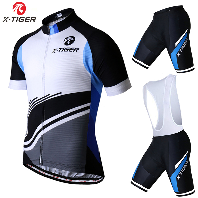 X-Tiger 2017 Short Sleeve Cycling Jersey Set Summer MTB Bicycle Clothing Maillot Ropa Ciclismo 100% Polyester Bike Sports wear keyiyuan children cycling clothing set ropa ciclismo bicycle kids summer bike short sleeve jersey shorts sets blue