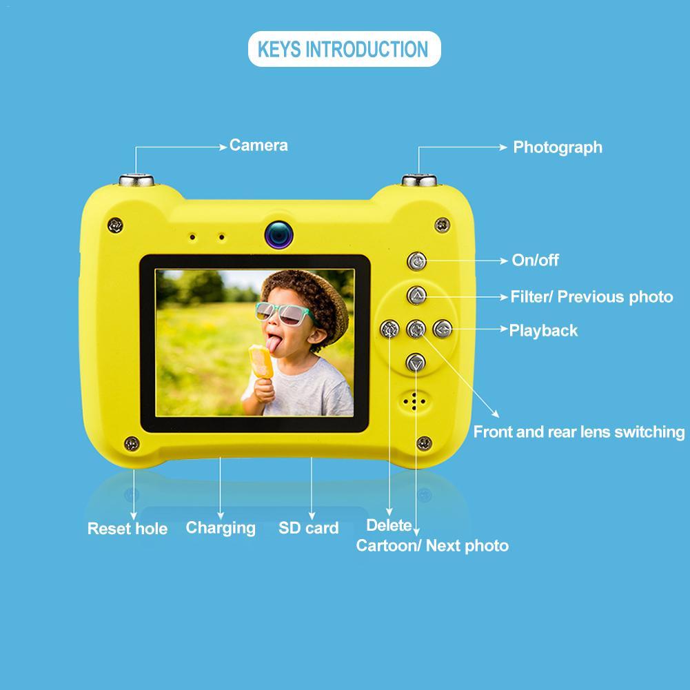 Mini appareil photo numérique petit reflex double objectif caméras jouet pour enfants HD Projection appareil photo numérique enfants cadeau d'anniversaire - 6