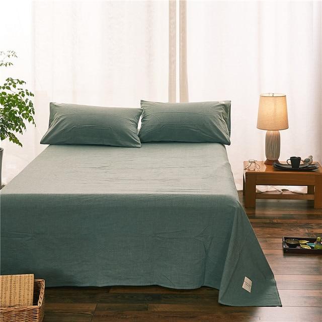 Good Modern Dark Green Solid Color 100% Cotton 1pcs Bed Sheet Linens+2pcs  Pillowcase Sheets