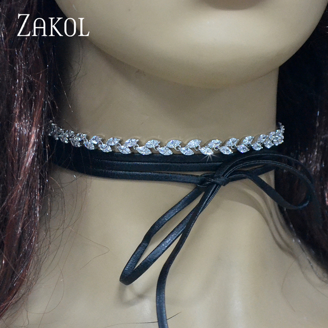 ZAKOL Top Quality Marquise Cubic Zirconia Choker Necklaces Black PU Leather Lace Necklaces Fashion Women Jewelry FSTP006