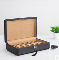 fashion12 slot wood high quality PU leather men watch storage display box jewelry organizer box case container with key SBH011a