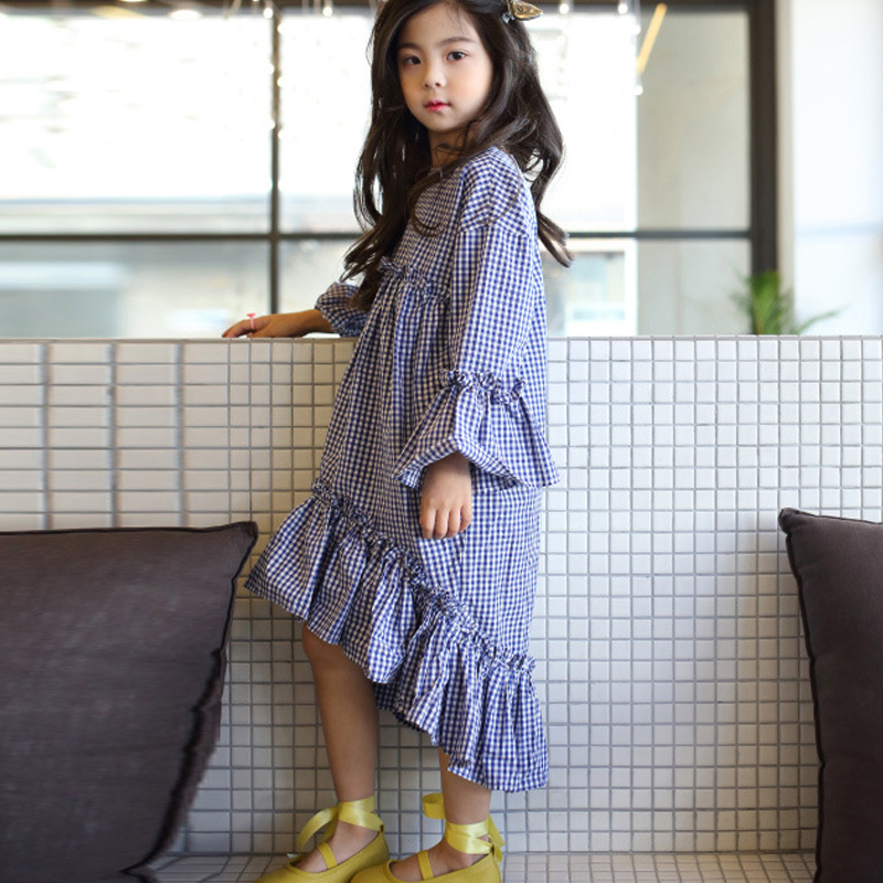 4 to 14 Yrs kids teenager girls summer plaid ruffle asymmetrical cotton causal dress child flare sleeve dresses girls clothes plus knot front asymmetrical plaid skirt
