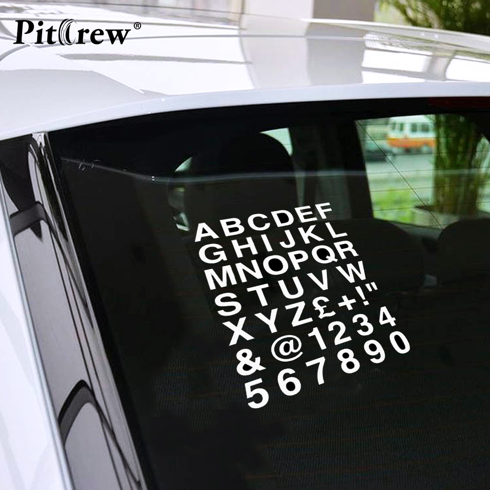 1pc high quality 16 223cm alphabet letters numbers personalized custom car sticker classic vinyl car body decals black silver
