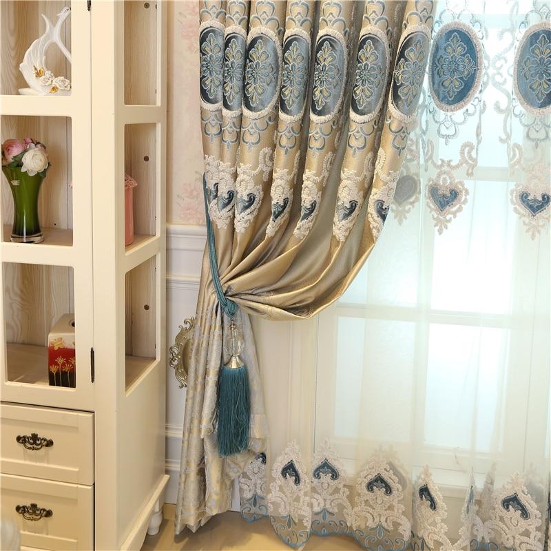Europa na zamówienie luksusowe hafty Zasłony zaciemniające do - Tekstylia do domu - Zdjęcie 2