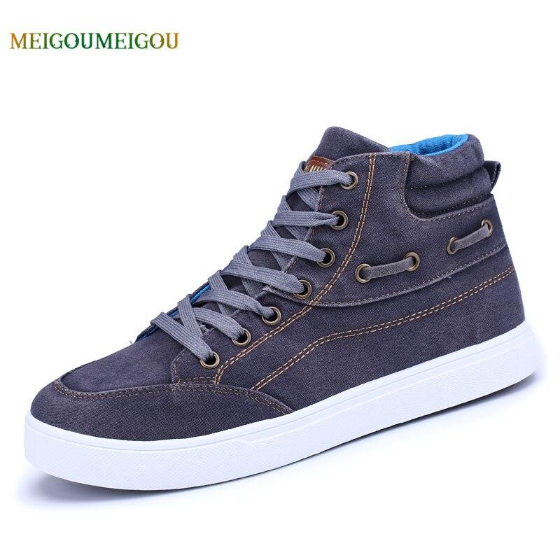 MEIGUOMEIGOU lavado vulcanizado Zapatos Hombre Lace-up zapatos de lona de los hombres del otoño antideslizante suela 39-44 hombres zapatos ocasionales cómodos
