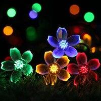7 м 50LED цветы Солнечная строка огни дневной свет ночью Свадебные украшения сада Decoración para el Hogar Mariage лампы для вечеринок