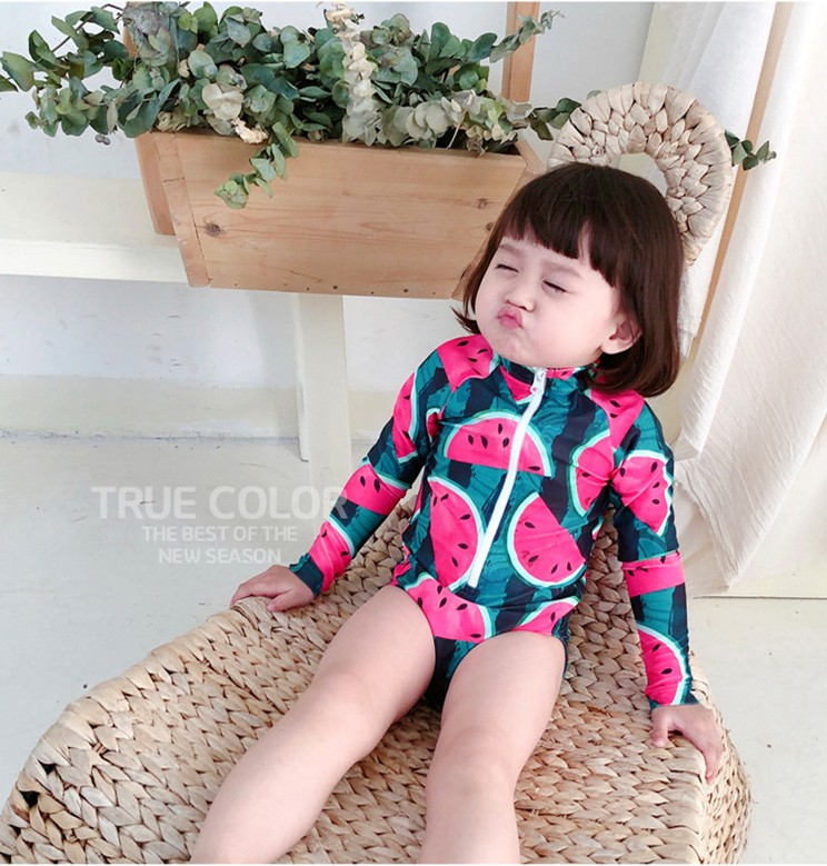 Baby-Girls-Swimsuit-One-Piece-Body-suit-Long-sleeve-Beach-New-Summer-Unicorn-Letter-Watermelon-Beach - 副本