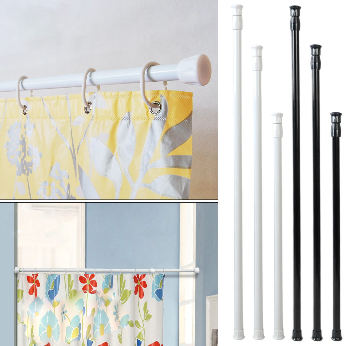 Extendable Adjustable 40-70cm Spring Loaded Tension Rod Rail Pole Hanger Telescopic Curtain Shower Bathroom Window Products