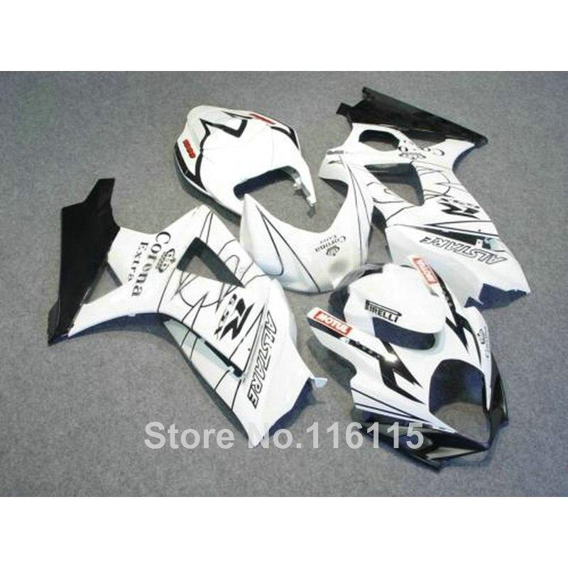 Free customize fairing kit for SUZUKI GSXR 1000 K7 K8 2007 2008 fairings white black Corona 07 08 GSXR1000 ABS bodykits JS28