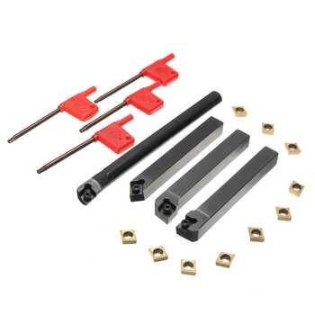 10pcs CCMT09T304 Carbide Insert+4pcs Lathe Turning Tool Holder Set+4pcs Wrench for Lathe Turning Tool Machine Tool Sets