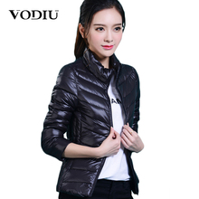 women Plus Size ultra casual light winter warm duck down jacket Zipper coats Stand Collar slim