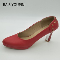 2018 Fashion Pumps Women High Heels Shoes Small Size 32 33 Waterproof Shoes with Thick Rivets Red Wedding Shoes Plus Size 40 43