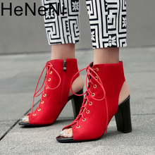 Fashion Women's sandals Sexy Fish mouth Lace-up shoes Casual PU 9CM High-heeled Rome Square heel Woman pumps Plus Size 9 9.5 10