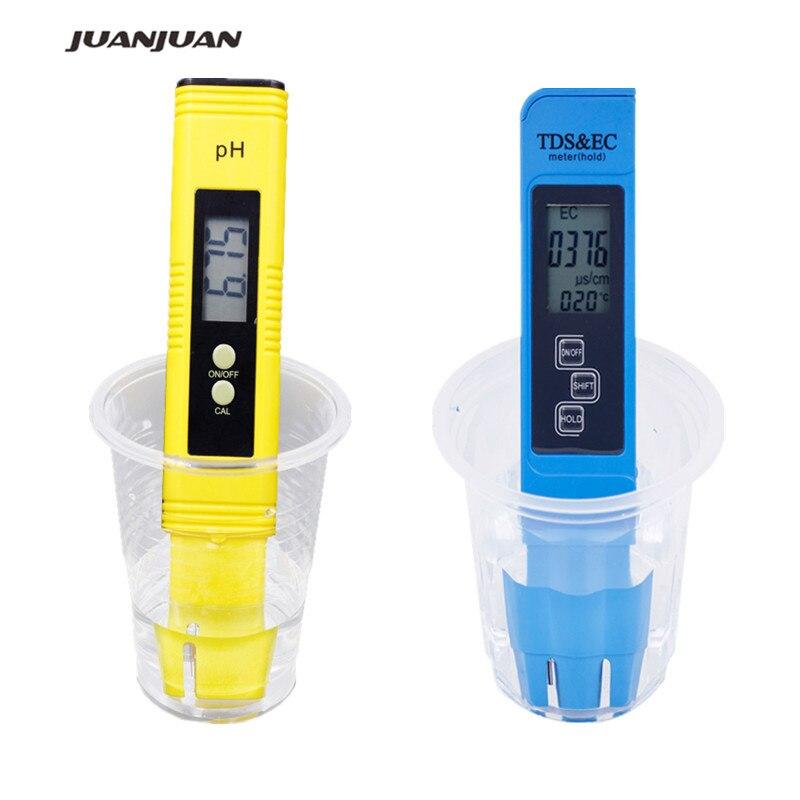 2pcs Digital 0.0-14.0 PH Meter Tester 0-9990ppm Digital TDS EC LCD Water Purity PPM Aquarium Filter  28%off