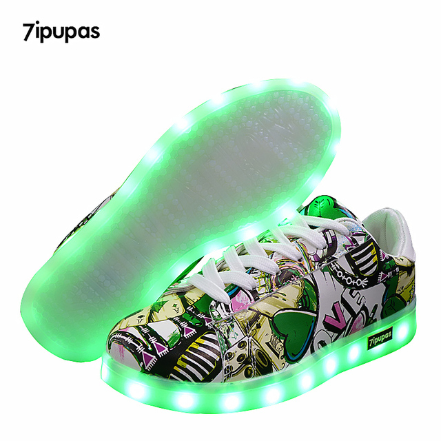 7 ipupas светящиеся кроссовки Детский уличный граффити обувь chaussure  fille со светодиодной подсветкой Luminou обуви мальчик c5686b7e30c68