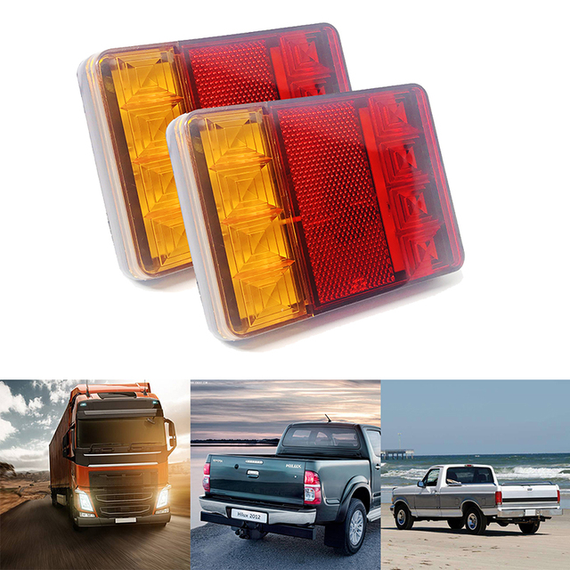 2Pcs Waterproof 8 Car LED Tail Light Rear Lamps Pair Boat Trailer 12V Rear Parts for Trailer Truck Car Lighting Waterproof IP65