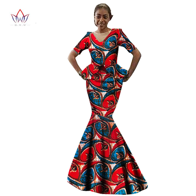 BRW New Two Pieces Casual Women Maxi Skirt Set Short Sleeve African Print Clothing Long Pattern Floral Tops and Long Skirt WY969
