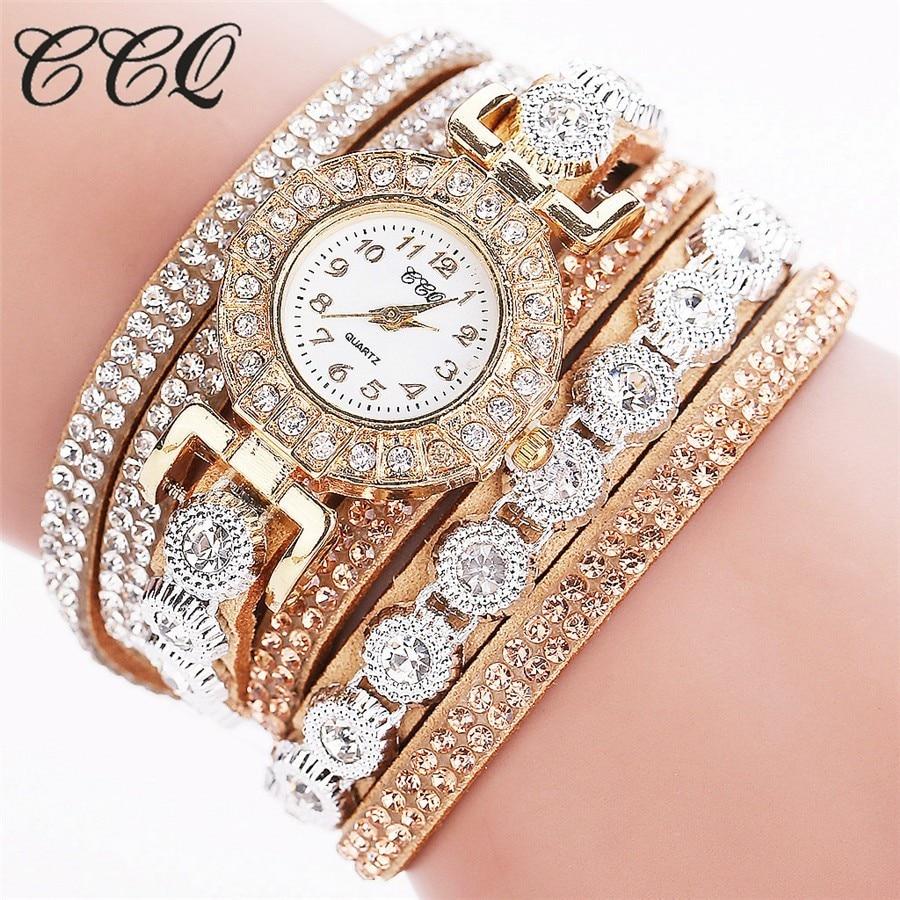 CCQ Fashion Luxury Women Rhinestone Bracelet Watches Ladies Quartz Watch Casual Women Wristwatches Clock Relogio Feminino Hot