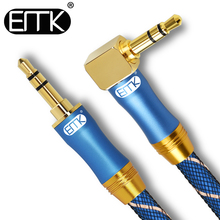 EMK 90 Degree 3.5mm AUX Cable audio Jack 3.5 nylon braided Male to Aux 1m 2m 3m 5m Phone Car Computer Speaker
