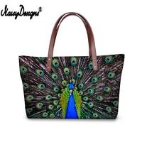 NOISYDESIGNS Custom Women's PU Leather Handbags Bolsa Feminina Peacock Feather Printing Female Big Totes Ladies Messenger Bag