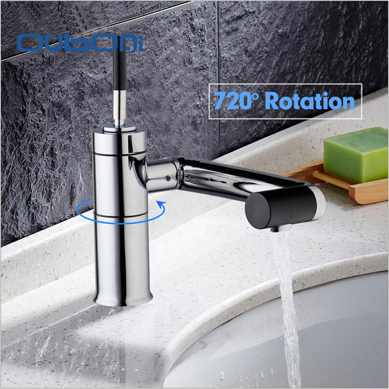 OUBONI New Basin Deck Mounted for Kitchen Bathroom Faucet Swivel 360 Brass Hot Cold Water Torneiras
