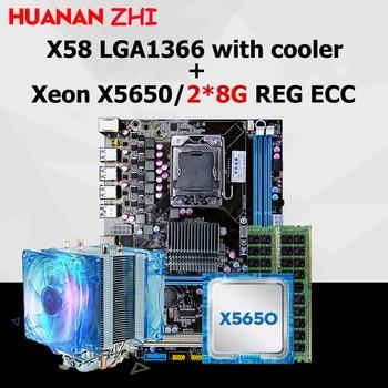 Новый HUANAN Чжи X58 материнской скидка материнской платы с Процессор Intel Xeon X5650 2,66 ГГц с охладитель Оперативная память 16G (2*8G) ECC REG