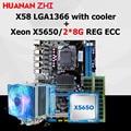 Brand new HUANAN ZHI X58 moederbord korting moederbord met CPU Intel Xeon X5650 2.66 GHz met cooler RAM 16G (2*8G) REG ECC