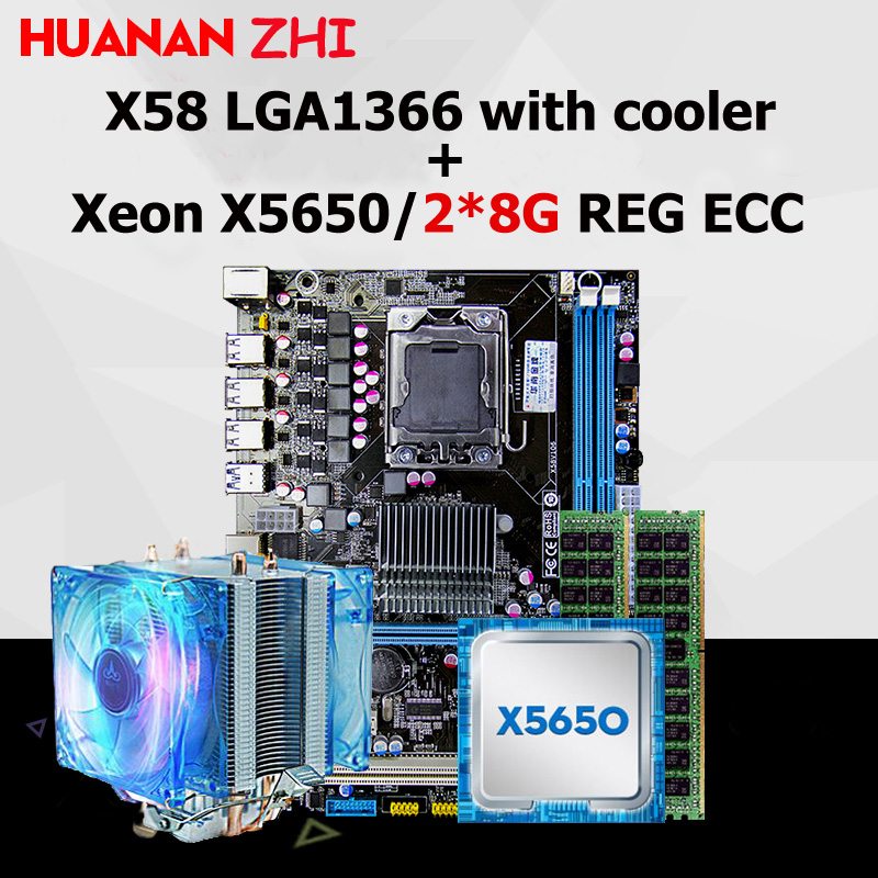 купить Brand new HUANAN ZHI X58 motherboard discount motherboard with CPU Intel Xeon X5650 2.66GHz with cooler RAM 16G(2*8G) REG ECC по цене 13667.5 рублей
