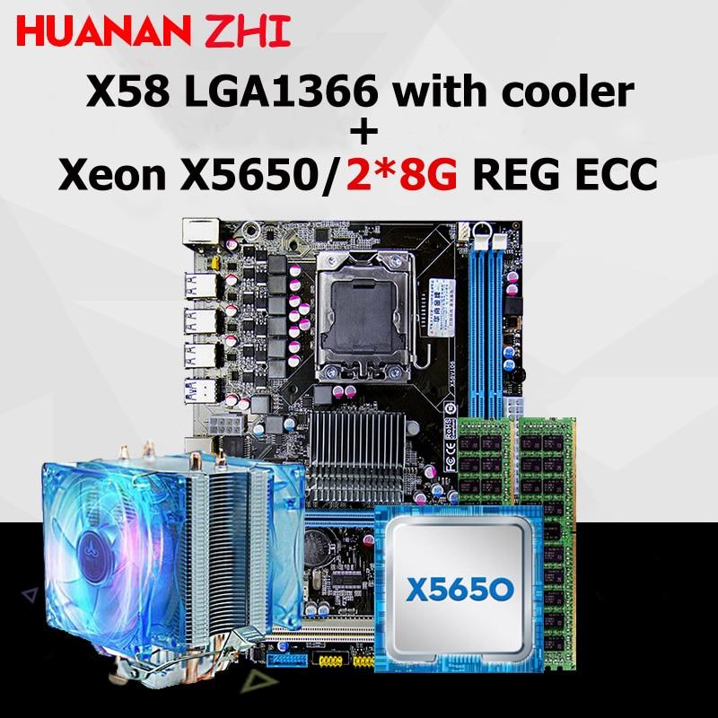 Brand new HUANAN ZHI X58 scheda madre sconto scheda madre con CPU Intel Xeon X5650 2.66 GHz con dispositivo di raffreddamento RAM 16G (2*8G) REG ecc