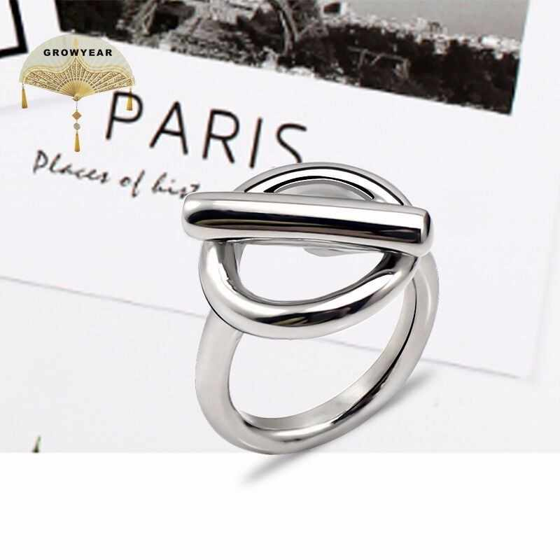 Personalized Women Stainless Steel Simple Punk Wind Finger Ring Silver Fashion New Assembly Design Size 6 7 8 9 10