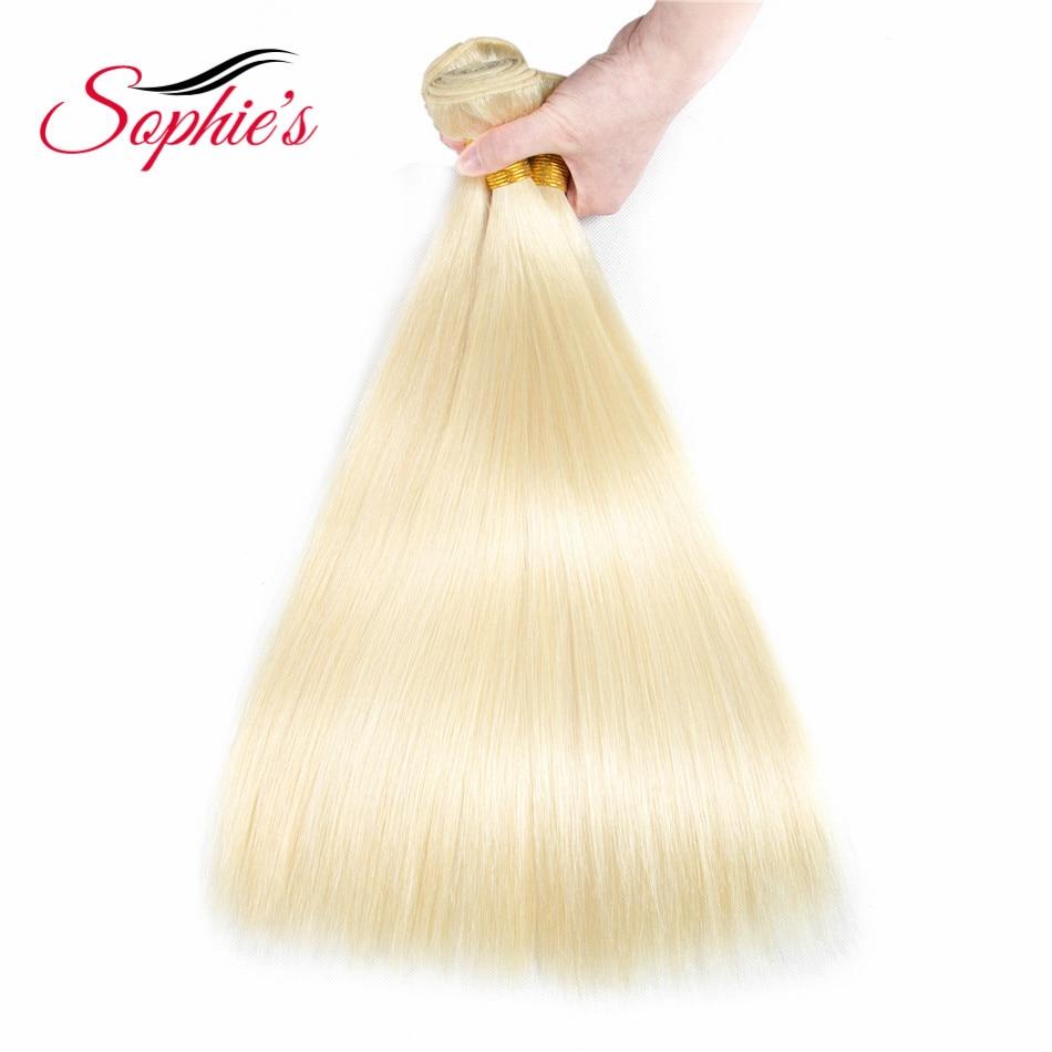 Sophies Hair 613 Human Hair 3 Bundles Straight Hair Weaves Non-Remy Peruvian Human Hair Extensions No Tangle