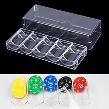1 stücke Poker Chips Set Box Poker Acryl Feine Chips Transparent Box Casino Spiel Tray Chips Fall Mit Abdeckungen Poker chips(China)