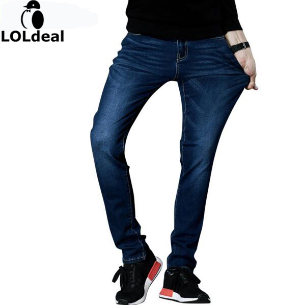 2017 Jeans Men s Brand High Quality Stretch Blue Denim Jeans Fashion Pleated Pocket Elastic jeans