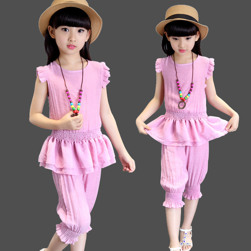 Children's Garment Summer New Pattern Children Suit Korean Pure Cotton Girl Short Sleeve Suit 2 Pieces Kids Clothing Sets 2016 spring new pattern korean children s garment girl baby lace back will bow dress girl jacket
