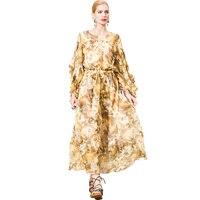 POKWAI Повседневные принты Для женщин летние длинные линии шелковое платье 2018 высокое качество три четверти Бабочка рукавом оборками Империя