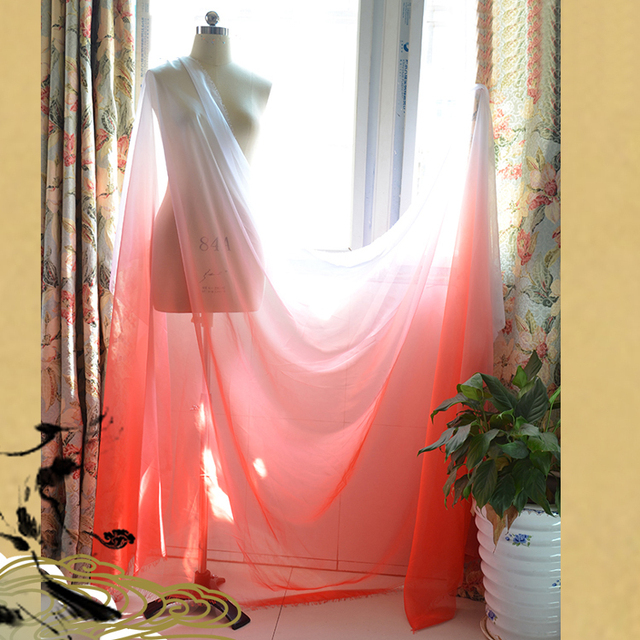 High Quality 30d Soft Light Weight Chiffon Fabric Sheer Stage Dancing Clothing Material  Red White Gradual Chiffon Textile