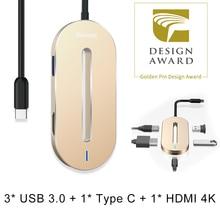 De Baseus 5en1 USB Tipo C 3.1 HUB Para El Tipo C a 3 USB 3.0/USB Tipo C/4 K HDMI OTG HUB Adaptador Para Macbook Pro USB C HUB divisor