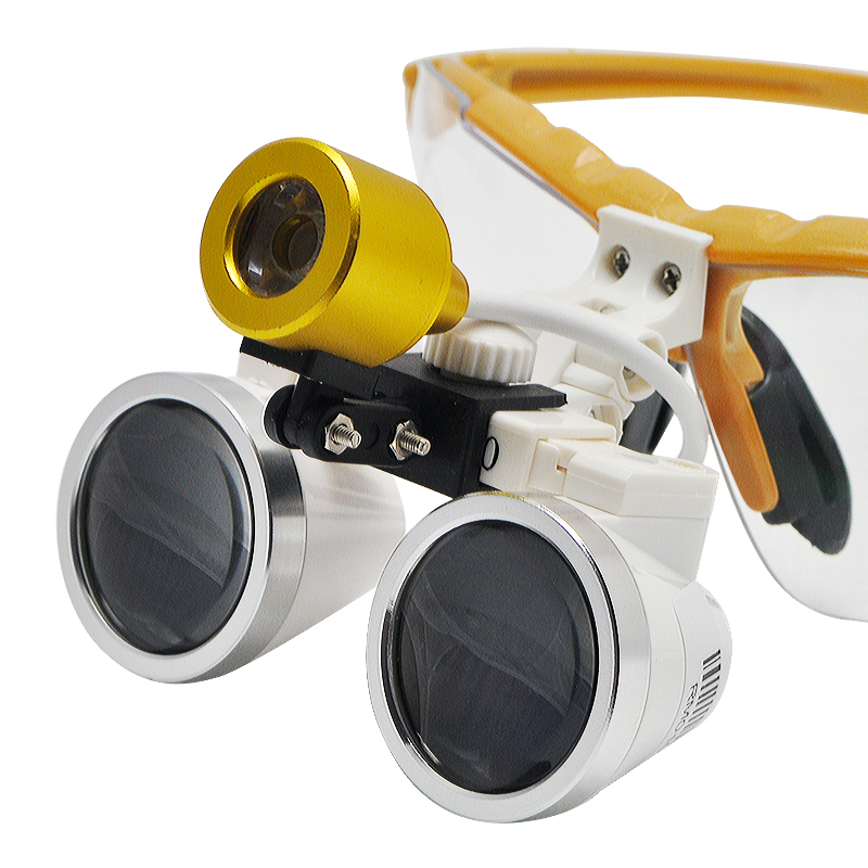 Quality Guarantee-Wholesale dental loupes 2.5X 3.5X Dental Surgical Binocular with LED Head Light Lamp Yellow good quality dental cordless endo motor with led light treatment 16 1 reduction contra angle