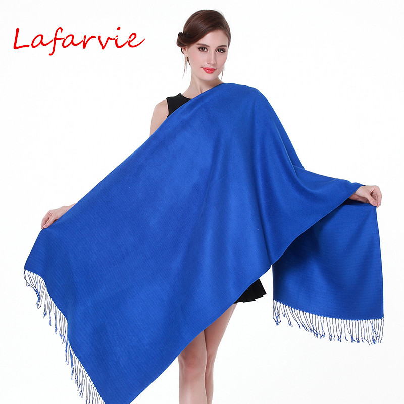 Lafarvie Hot Sale Auturm & Winter Fashion Solid Scraft Women Ladies Scarves Cashmere  Big Size 200cm*70cm Shawls