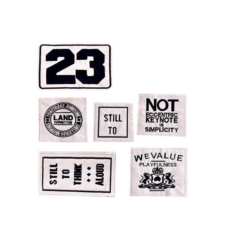New Fashion Nero Lettere bianche ANCORA A 23 Patch di Ferro On O Sew Fabric Sticker Per I Vestiti Distintivo Ricamato Appliques FAI DA TE