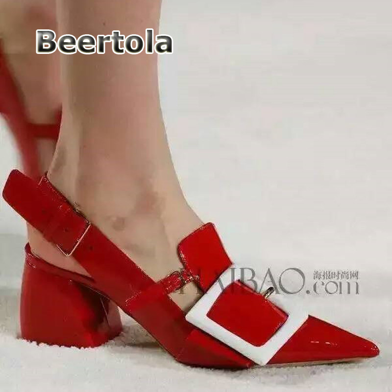 422dd2634245 Beertola Fashion Women Thick Heel Shoes Women Pumps Patent Leather Chunky  Heels Red Slingback Shoes Pointed