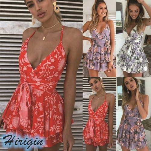 Summer Jumpsuits 2019 New Women Summer Sexy Sleeveless V-Neck Backless Loose High Waist Flower Print Jumpsuit