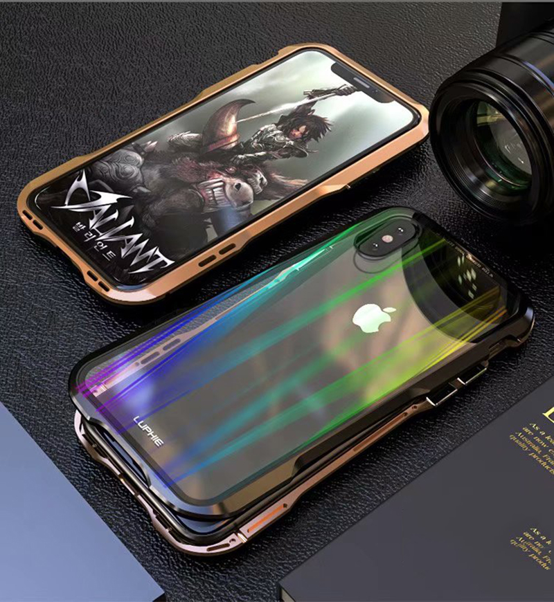 Luxury Magnetic Case For Apple iPhone XS Max Case coque Metal bumper cover For iPhone XR Case Transparent Aurora tempered glass  (10)