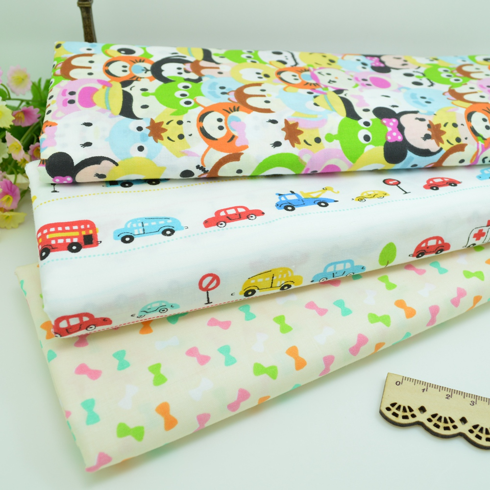 100*160cm Cartoon car bow Cotton Fabric Patchwork Tissue Cloth Of Handmade DIY Quilting Sewing Baby Sheets Dress handkerchief