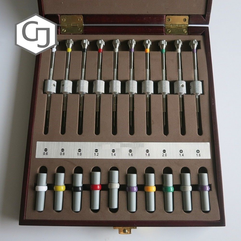Set of 10PCS Watch Repair Screwdrivers w Weight Sleeves in Wooden Box