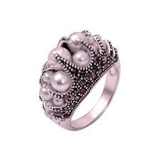 Ajojewel Size 7-9 New Elegant  Womens Vintage Simulated-Pearl Ring Black RhineStones Anel