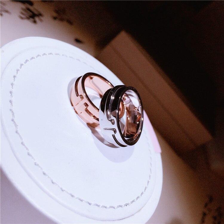 Mode s925 en argent sterling lettre double T anneau personnalité conception tempérament doux bijoux bague de mariage