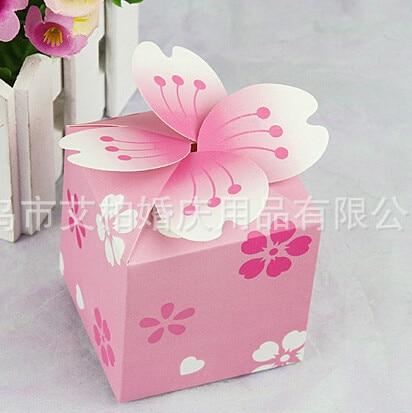 200pcs Lot Diy Pink Card Paper Wedding Favor Bo Flowers Cake Box