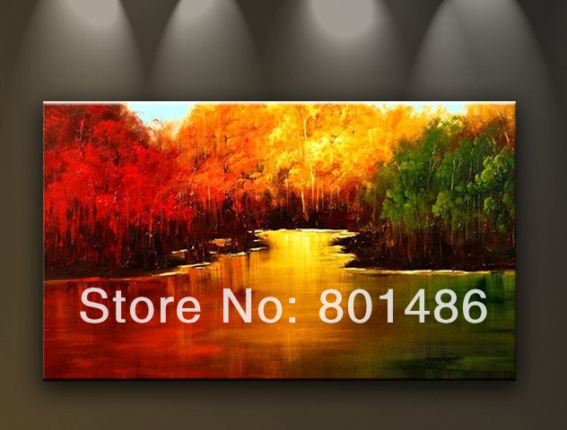 hand painted oil painting on canvas red and green yellow trees by the river home decoration wall art dropshipping is welcomed ...
